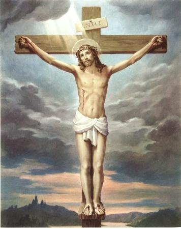 就在那裏把耶稣钉在十字架上;也钉了那两个凶犯:一个